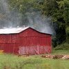 Fire curing tobacco barn