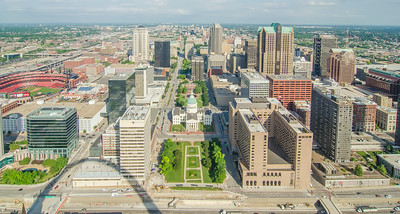 Aerial View of the city of Saint Louis, Missouri as seen from the top of the arch looking West