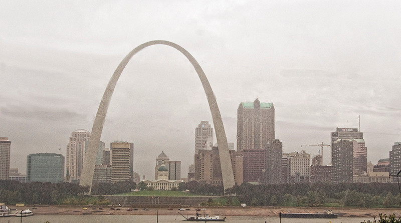 St. Louis Arch on a rainy day