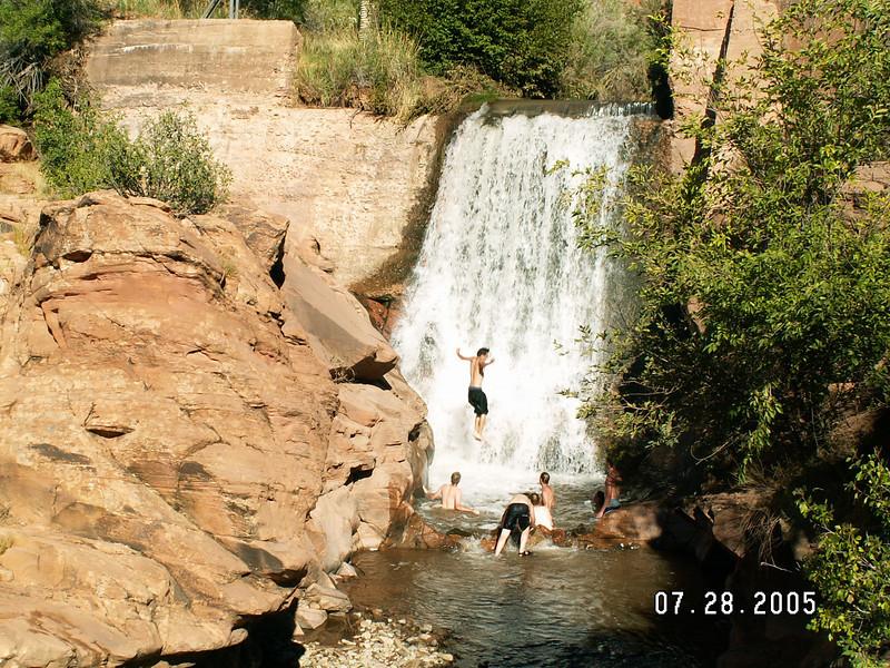 Varsity Scout Team 6287, cooling off at Powerhouse Falls