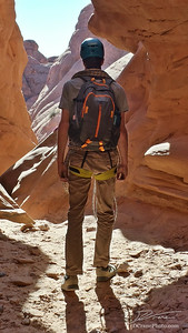 Miles approaches the final rappel of Lost and Found Canyon, and our last of 8 rappels in 8 hours and two canyons of Arches National Park. The kicker? We didn't see even a single person all day!