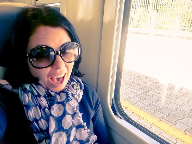 Ayngelina on train