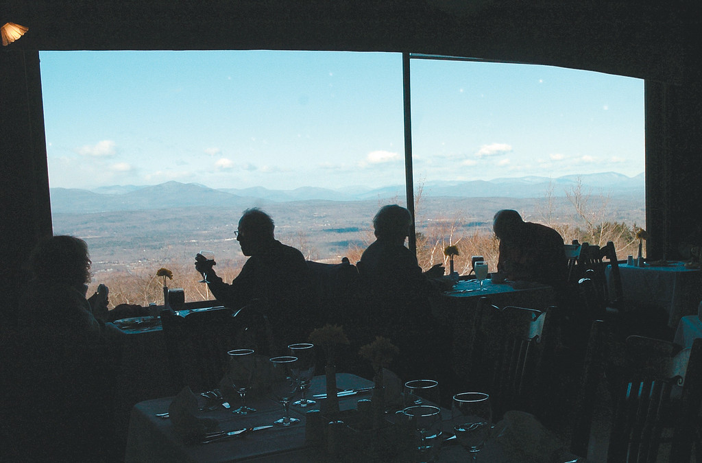 . Diners enjoy the view with their lunch  in the main dining hall at Mohonk Mountain House in January 2013.