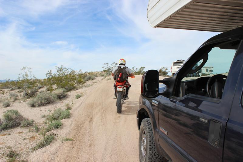 Two desert riders zipped passed us.