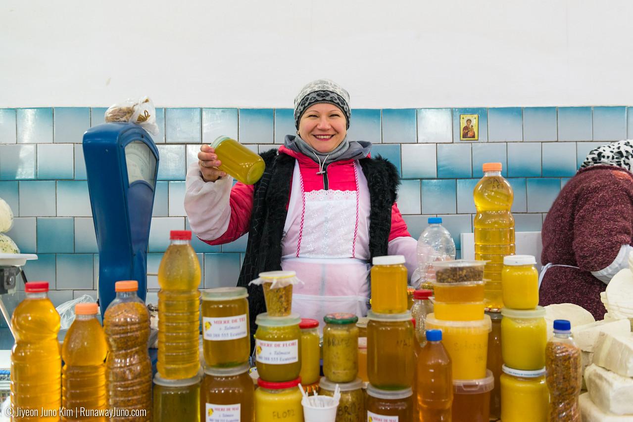 A local honey vendor at Chisinau Central Market