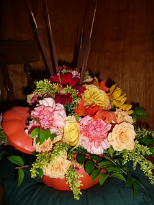The floral arrangement taken out of the box