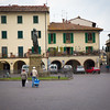 piazza in Greve in Chianti. Note the statue of Giovanni da Verrazzano (their spelling) who was from this area.