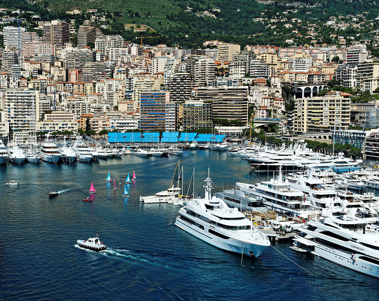 Monaco Harbor, yachts, pilot boat, sailboats, skyline