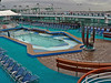 The pool before the crowds show up. It is open before you sail but it was so cold no one would want to go in.