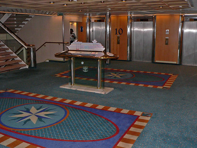Typical elevator lobby. There is always a ship model to show you where you are.