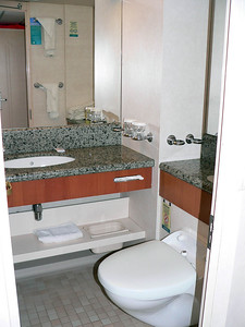 "JS1580 bathroom. The tub/bathtub is to the left behind the door. It has a LOW ceiling as I am 5'9"" and there was only 3"" between me & the ceiling!"