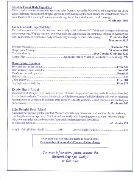 Spa services, page 2, click on it to read it.