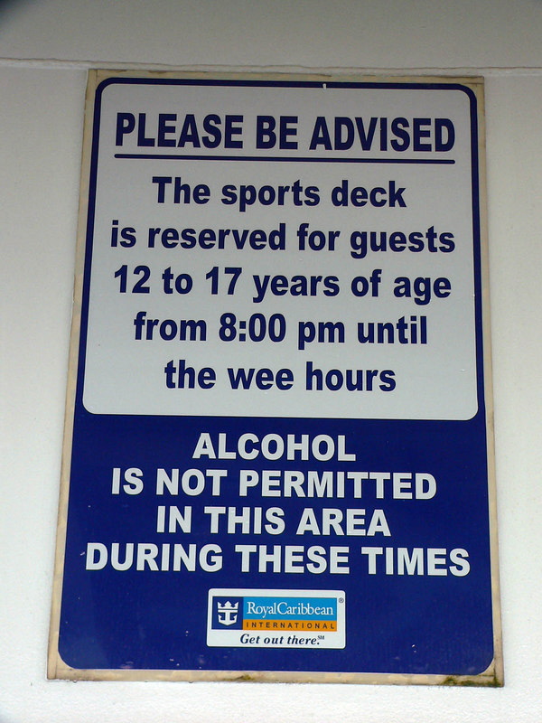 Sports Deck sign saying reserved for 12-17 years old after 8pm