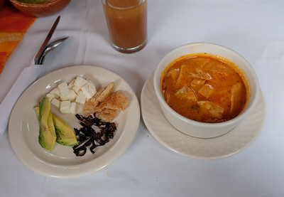 Lunch included a variation on tortilla soup.