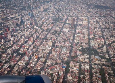 Descending into Mexico City.  Elevation 2240m (7350 ft), Population ~9 million with ~22 million metro area.