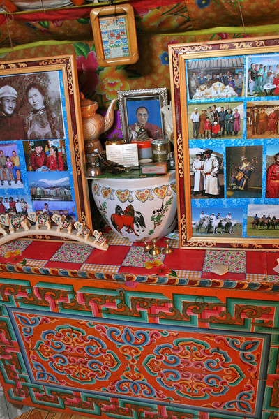 Each ger has an altar, usually Buddhist, and always accompanied by photos.