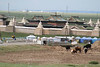 Karakorum, where Chinggis Khaan held a supply camp for 40 years.  It's now a working monastery.
