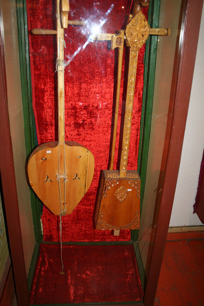 Mongolian musical instruments on display at the museum.