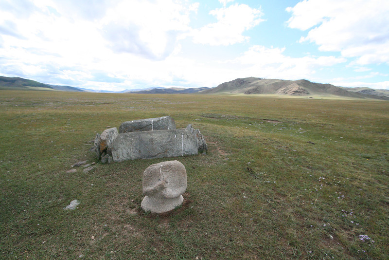 Deer stones, found all over Mongolia, are ancient burial markers that date back to the Bronze Age.  Many depict deer, as it was the deer that took your soul to heaven when you died.