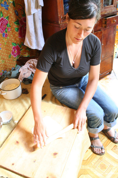 Anne-Laure helps prepare the noodles for dinner.