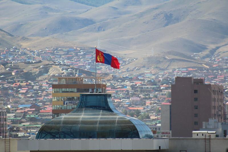 The Mongolian flag flying high above UB.