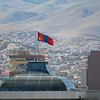 The Mongolian flag flying high above UB.