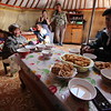 """Inside, I was warmly welcomed by the Kazakh family.  Kazakhs are Turkish ethnic group who have been in Mongolia for centuries.  They didn't have much in the way of material possessions, but they were generous in offering me cheese curds, bread, and milk tea <a href=""""https://en.wikipedia.org/wiki/Kazakhs"""">https://en.wikipedia.org/wiki/Kazakhs</a>"""
