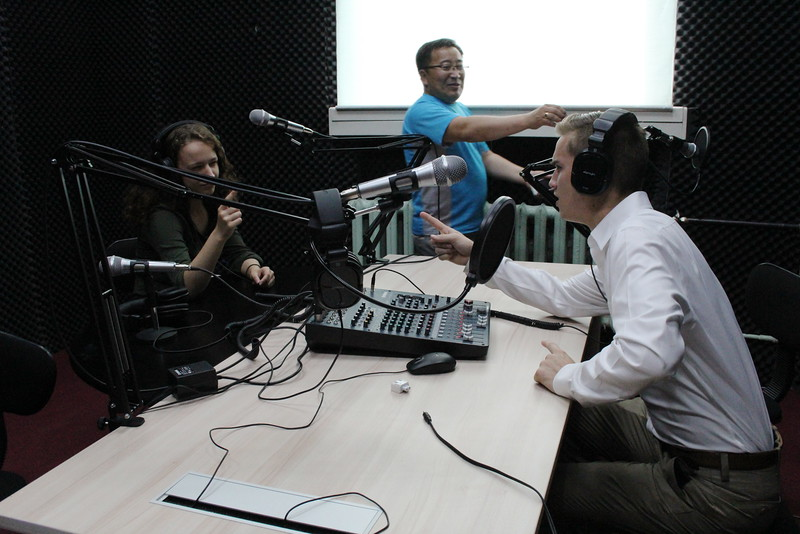 """Met with a journalism/media professor.  He let us play with his radio studio!  Got in some good """"Point/Counterpoint"""" action."""