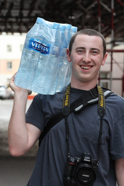 Caleb earning his keep as our water sherpa...