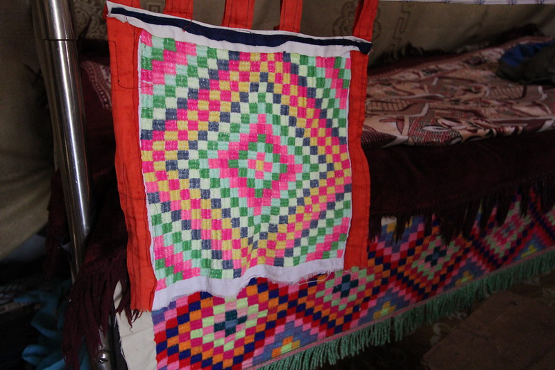The textiles in their ger were typical of Kazakh design.  Bright colors and bold patterns.  Gorgeous.