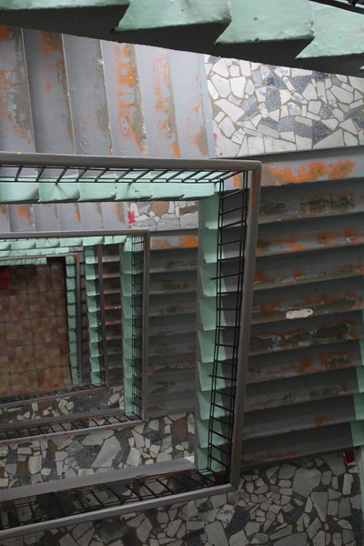 The stairwells in many of these Soviet-era buildings were not only depressing, but structurally suspicious.  Made for some good patterns, though!