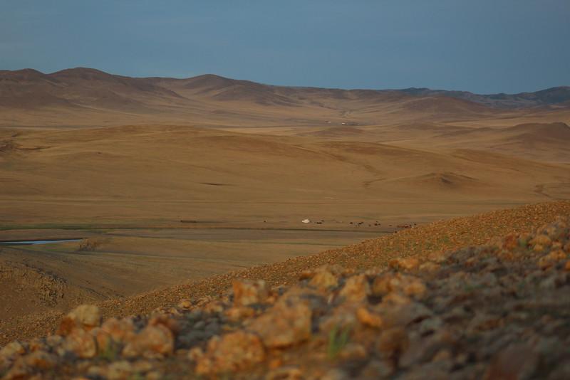 Golden hour light across the range.