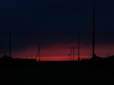 Fuzzy sunset in Dalanzagad.