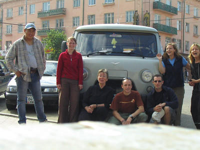 The group posing for our first picture as we embark on our 10 day tour.  Camera is poised on a wooden stool.  Opps.