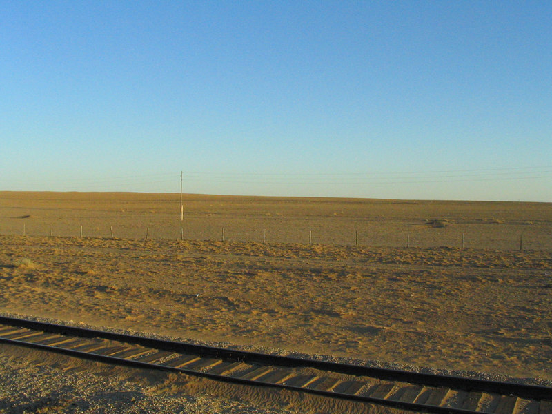 I'm in the middle of the desert on a train in Mongolia.  Who'da thunk it?