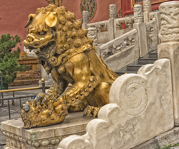 One of two gilded bronze lions in front of the Hall of Supreme Harmony