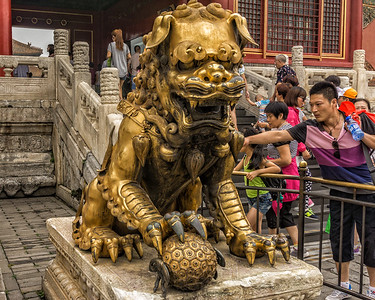 One of two gilded bronze lions in front of Hall of Supreme Harmony