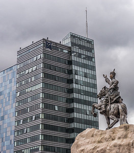 An equestrian statue of Damdin Sükhbaatar, one of the leaders of Mongolia's 1921 revolution.  He is remembered as one of the most important figures in Mongolia's struggle for independence.