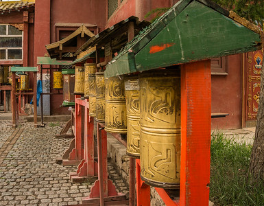 Prayer wheels at the Gandan Monastery
