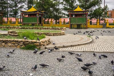 Outside the Gandan Monastery in Ulaanbaatar.  This is a Tibetan style Buddhist monastery.