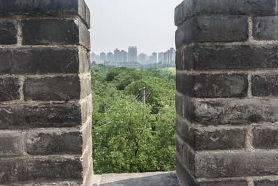 View of modern Xi'an as seen through the wall