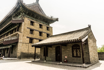 On the Xi'an City Wall with watch tower and inner building
