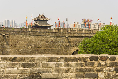 On the Xi'an City Wall looking toward one of the watch towers.