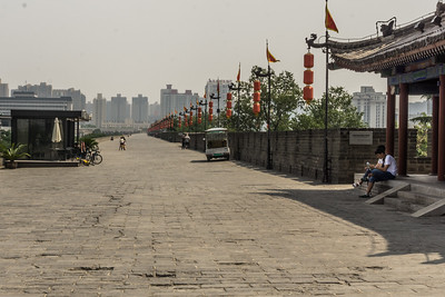 The city wall with modern Xi'an in background.