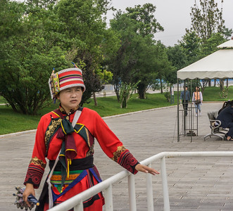 A Sani woman in traditional dress.  The Sani are a branch of the Yi people, one of hte ethic groups in China