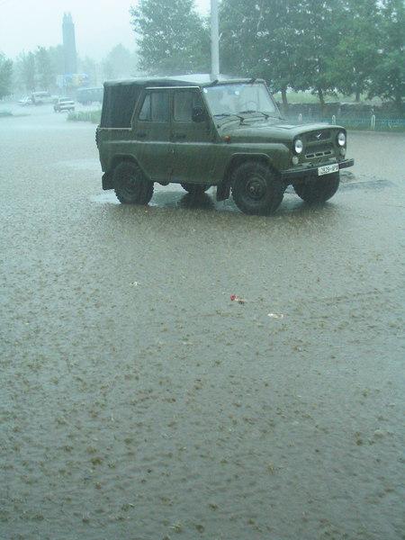 Sudden downpour in downtown Tsetserleg.