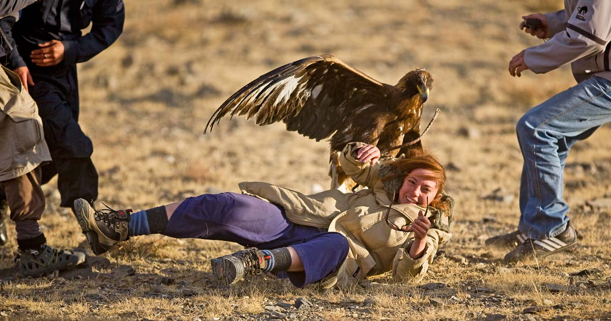 Girl beign attacked by Golden Eagle.