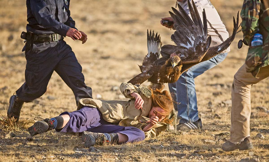 Girl being attacked by Golden Eagle.