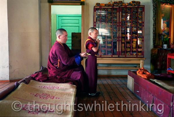 Mongolia 2008 Ganden Monastery - preparing for class August 21
