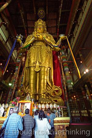 Mongolia 2008 Ganden Monastery - Migjid Janraisig (Avaloketshvara) statue, 85 feet tall August 21